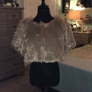 Faux fur wrap shrug